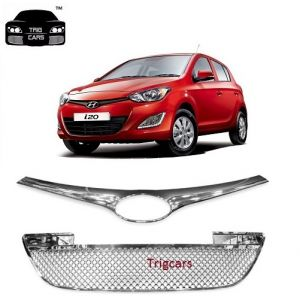 Car Accessories - Trigcars Hyundai i20 Car Front Grill Chrome Plated