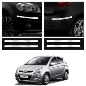 Safety guards - Trigcars Hyundai i20 Old Car Chrome Bumper Scratch Potection Guard   Car Bluetooth