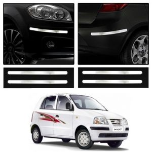 Safety guards - Trigcars Hyundai Santro Xing GLS Car Chrome Bumper Scratch Potection Guard   Car Bluetooth