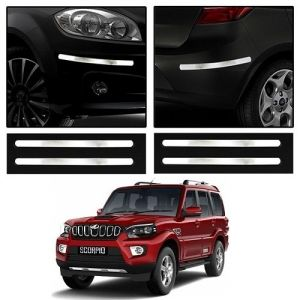 Safety guards - Trigcars Mahindra Scorpio New Car Chrome Bumper Scratch Potection Guard   Car Bluetooth