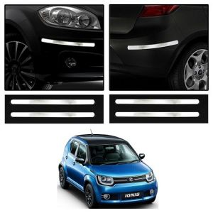 Safety guards - Trigcars Maruti Suzuki Ignis Car Chrome Bumper Scratch Potection Guard   Car Bluetooth