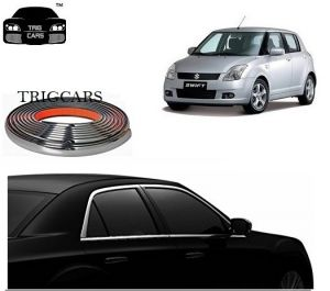 Trigcars Maruti Suzuki Swift 2010 Car Side Window Chrome Beading Moulding Roll Car Bluetooth
