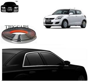 Trigcars Maruti Suzuki Swift 2012 Car Side Window Chrome Beading Moulding Roll Car Bluetooth