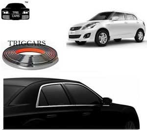 Trigcars Maruti Suzuki Swift Dzire 2009 Car Side Window Chrome Beading Moulding Roll Car Bluetooth
