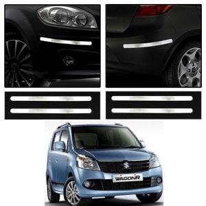 Safety guards - Trigcars Maruti Suzuki Wagon R 2010 Car Chrome Bumper Scratch Potection Guard   Car Bluetooth