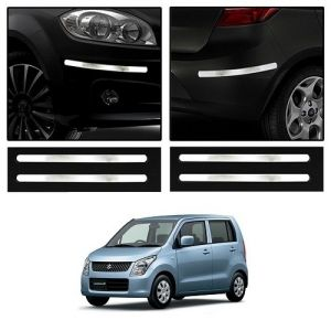 Safety guards - Trigcars Maruti Suzuki Wagon R Old Car Chrome Bumper Scratch Potection Guard   Car Bluetooth