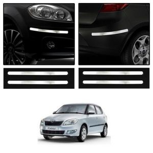 Safety guards - Trigcars Skoda Fabia Car Chrome Bumper Scratch Potection Guard   Car Bluetooth