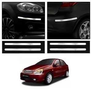 Safety guards - Trigcars Tata Indigo CS Car Chrome Bumper Scratch Potection Guard   Car Bluetooth
