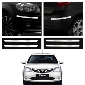 Safety guards - Trigcars Toyota Etios New Car Chrome Bumper Scratch Potection Guard   Car Bluetooth