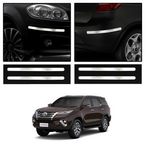 Safety guards - Trigcars Toyota Fortuner New Car Chrome Bumper Scratch Potection Guard   Car Bluetooth