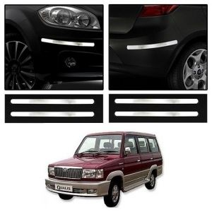Safety guards - Trigcars Toyota Qualis Car Chrome Bumper Scratch Potection Guard   Car Bluetooth