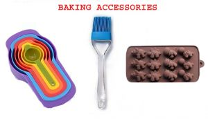 6 Pcs Measuring Cups Set With Silicone Chocolate Mould Dinosaur Shape And Silicon Brush Baking Combo.