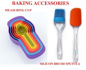 Set Of 2 Silicon Brush & Spatula With 6 Pcs Measuring Cups & Spoons Set For Cooking & Baking.Combo Offer.
