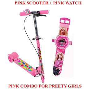 Pink Scooter With Brakes & Bell And Pink Kids Watch With Inbuilt 24 Image Projector For Girls