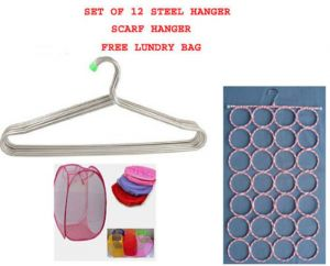 Set Of 12 Stainless Steel Clothes Hanger Scarf Hanger Free Foldable Laundry Bag.