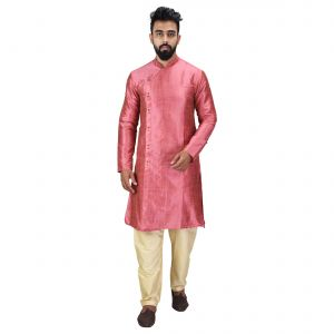 Angrakha Cotton Silk Regular Fit Self Design Kurta Pajama Set ( Code - Bckuset020)