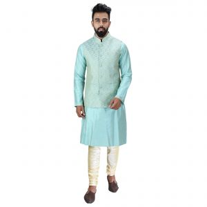 Men Kurta, Ethnic Jacket And Pyjama Set Cotton Silk ( Code - Ethset024)