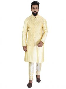 Kurta Sets (Men's) - Men Kurta, Ethnic Jacket and Pyjama Set Cotton Silk ( Code - Ethset025)