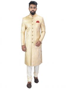 Ethnic Wear (Men's) - Anil Kumar Ajit Kumar Self Design Sherwani( Code - Shrset03)