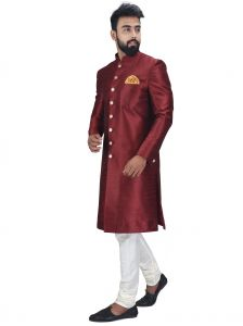 Ethnic Wear (Men's) - Anil Kumar Ajit Kumar Self Design Sherwani( Code - Shrset05)