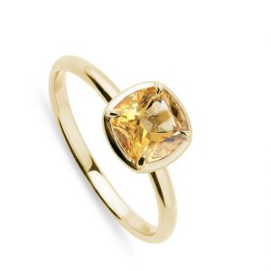 Natural Yellow Sapphire Ring 5.25 Ratti Gold Plated Ring ( Code - Red00017 )