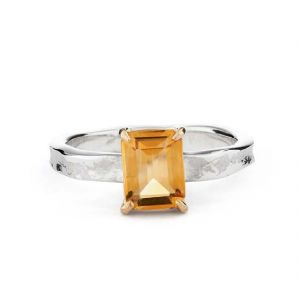Gemstone Rings - Citrine 6.25 Ratti Stone Silver Ring Lab Certified & Natural Stone Ring For Unisex (Code- CEY0007)