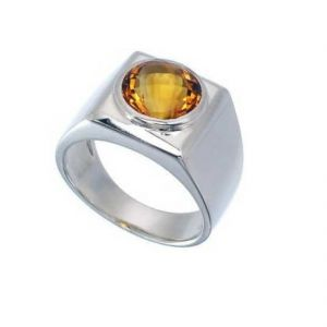 Gemstone Rings - Original Stone Citrine 6.25 Carat Stone Silver Ring For Unisex (Code- CEY0012)