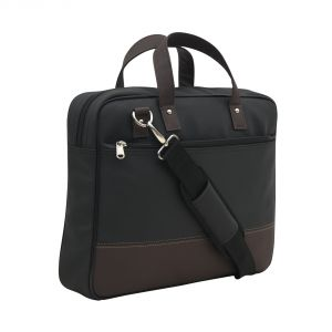 Aquador Laptop Cum Messenger Bag With Black Brown Faux Vegan Leather- ( Code -ab-s-1461-black Brown )