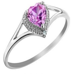 Ag Gem Real Diamond Pink Heart Gemstones Ring