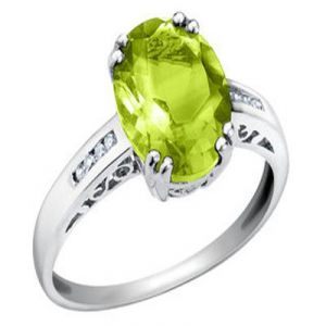 Aggem Real Diamond Parrot Green Oval Gemstone Ring