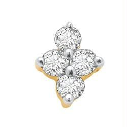 Diamond Nose Rings, Pins - Ag Real Diamond Pressure Set Fancy Shape Nose Rin