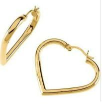 Au 18k Pure Yellow Gold Heart Earring Aue003