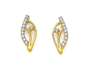 Avsar Real Gold And Diamond Attractive Earring
