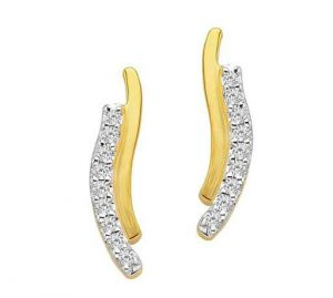 Avsar Real Gold And Diamond Parellel Type Earring