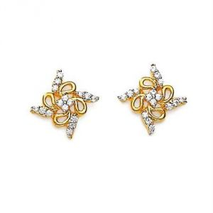 Avsar Real Gold Diamond Swastik Earring Ave0165