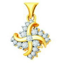 Avsar Real Gold & Diamond Swastik Pendant Avp046