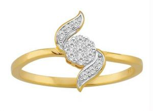 Avsar Real Gold And Diamond Leave Shape Ring