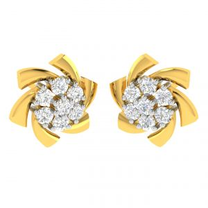 Avsar Real Gold And Diamond Seema Earring (code - Ave312yb)