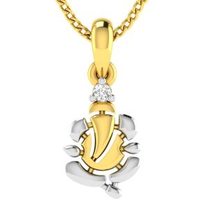 Avsar Real Gold Ganesha Shape God Pendant ( Code - Avp219yb )