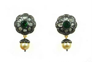 19.90 Ct Real Diamond And Emerald Pearl Earring