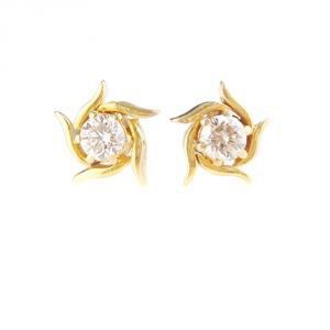 Earrings (Imititation) - Tarang Real Diamond Two Stone Fancy Earring # TAE003