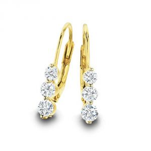 Tarang Real Diamond Three Stone Earring # Tae013