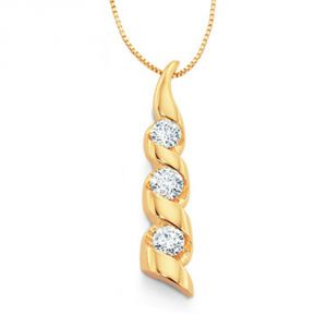 Tarang Real Diamond Three Stone Pendant # Tap041