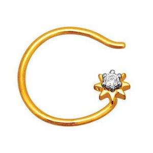 Avsar Real Gold And Diamond Radhika Nose Ring ( Code - Uqno012n )
