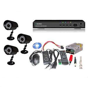Set Of 3 IR Bullet 850 Tvl Cctv Cameras & 4 Ch Dvr With All Required Connec