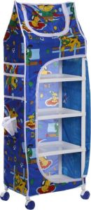 PVC Collapsible Wardrobe Hut Pattern  (Finish Color -  BLUE)