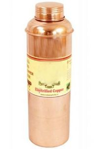 Pure Copper Hammered Bisleri Design 800 Ml Bottle - Storage Water Drinkware Benefit Yoga Ayurveda