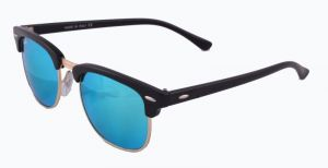 New Trendy Clubmaster Style Uv Protected Sunglass Black /ocean Blue Mirror Lens