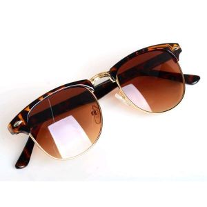 Leopard Cat Eye Semi Round Sunglasses For Men