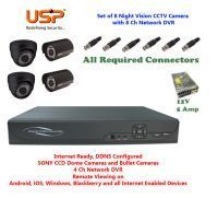 Usp Set Of 4 Night Vision Cctv Dome And Bullet Camera 4 Ch. Channel Network Dvr